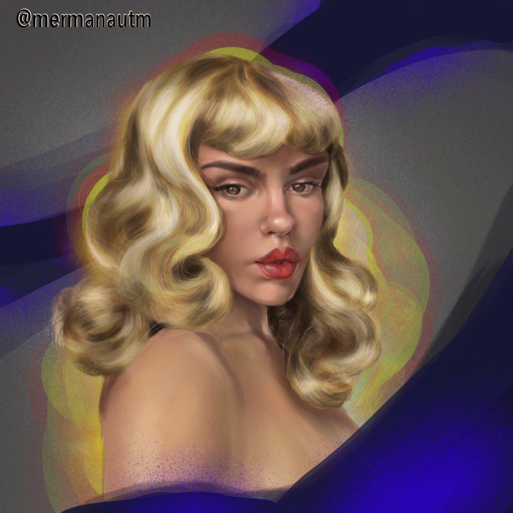 🌌✨Ok, done, ok I'm done bothering y'all . Byeeeee! 🎇✨#digitalpainting #blondbombshell #pinup #digitalart #procreateart #digitalillustration #portraitart #painting #artdaily #drawingaday