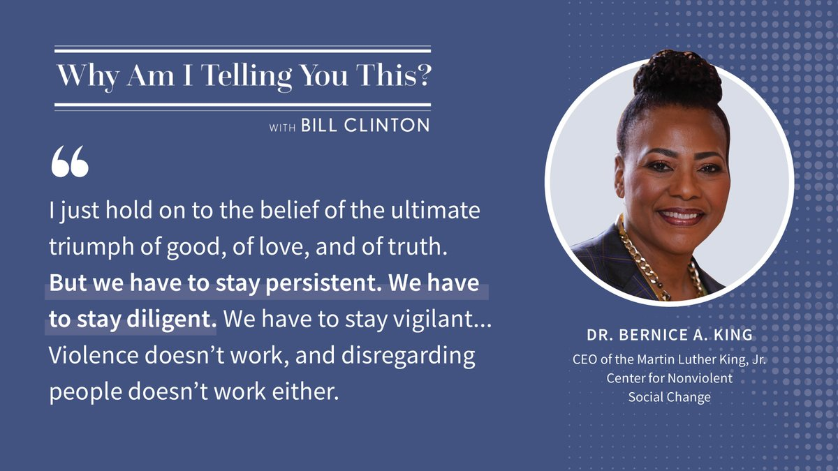 "Thank you to my friend Dr @BerniceKing for joining me on my podcast and sharing her story. We discussed the ongoing fight for racial, social, and economic justice, and how we can build the ""Beloved Community"" her father dreamed of. Listen here:"