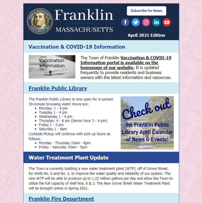Town of Franklin, E-newsletter for April 2021