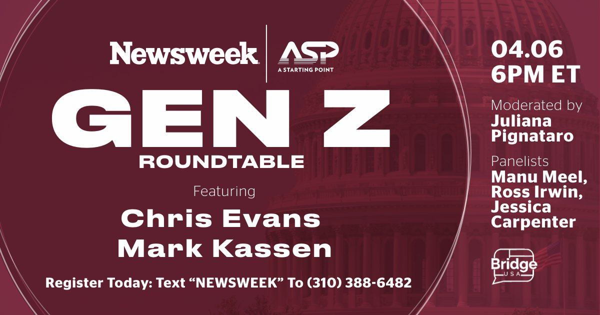 This month we're teaming up with @ASP, the civic media organization created by @ChrisEvans, @MarkKassen, and entrepreneur @JoeKiani, to create a cross-platform series exploring Gen Z's impact on American politics. Tune in April 6th https://t.co/JOcHpUd608 https://t.co/bJBmDF5Aha