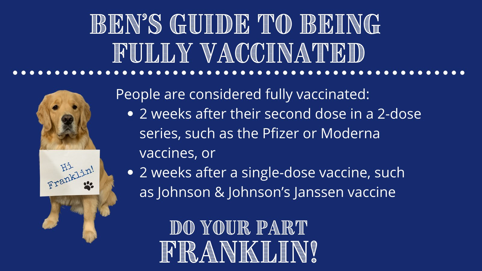 Town of Franklin, MA: Ben's guide to fully vaccinated status