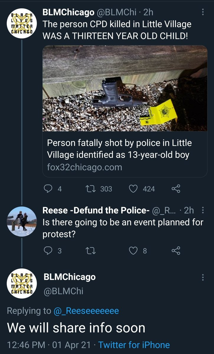 #BLM in Chicago are planning something in response to police shooting dead an armed 13-year-old male. https://t.co/az3edOWyky