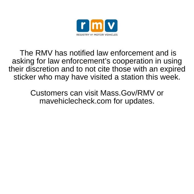 RMV announces no vehicle Inspections for Apr 2 - Apr 4, 2021
