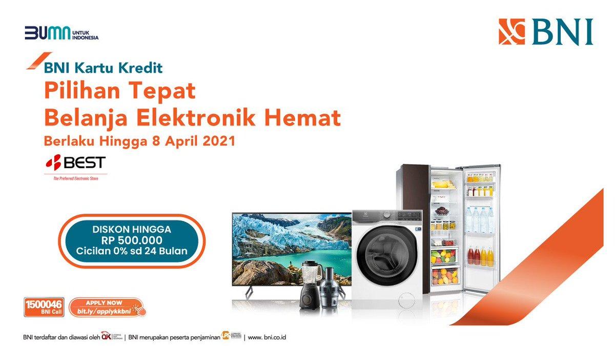 Pt Bank Negara Indonesia Persero Tbk On Twitter Dptkn Barang Elektronik Pilihanmu Dgn Penawaran Terbaik Di Outlet Best Denki Utk Setiap Transaksi Menggunakan Kartu Kredit Bni Kamu Bisa Menikmati Diskon Hingga Rp500 000 Promo kartu kredit bni 2021