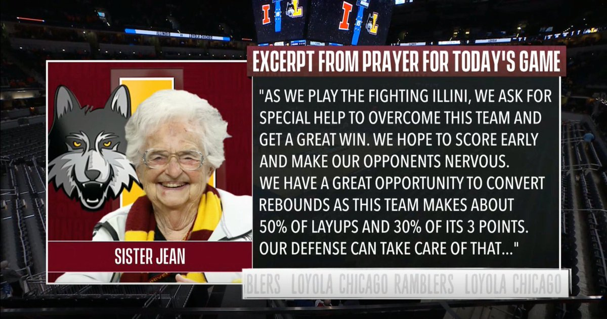 Down goes, Illinois! The magic is back for Sister Jean, Porter Moser, and Cam Krutwig. Loyola so well coached & great D. HORRIBLE job by the selection cmte making an AP top 20 team & @kenpomeroy top 10 team an 8 seed. Turnovers have been this Illinois team's Achilles all year.