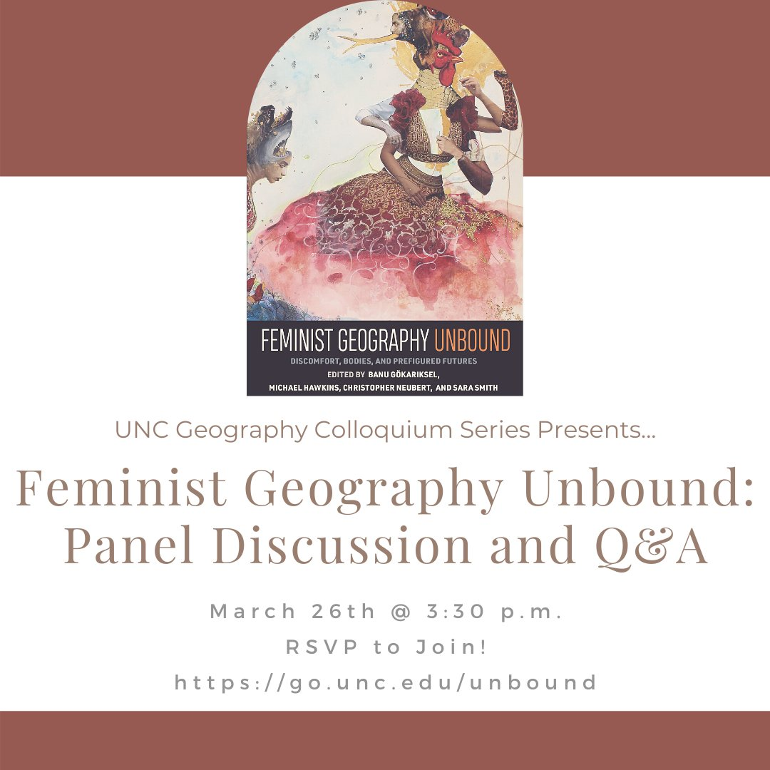 Promotional flyer for March 26 conversation on new book Feminist Geography Unbound at the UNC Department of Geography.