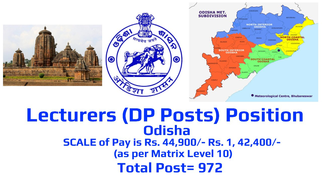 Lecturers (DP Posts) Position by SSB, Odisha, India, Total Post= 972