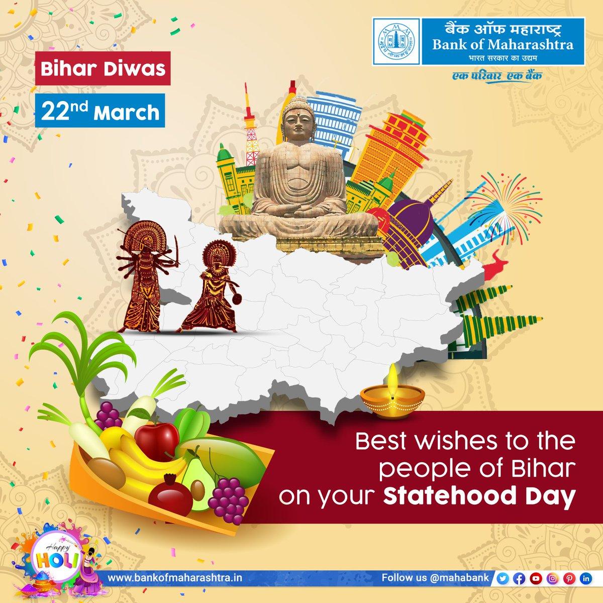 Best wishes to all the people of Bihar on your Statehood Day. Happy Bihardiwas BankofMaharashtra mahabank https t