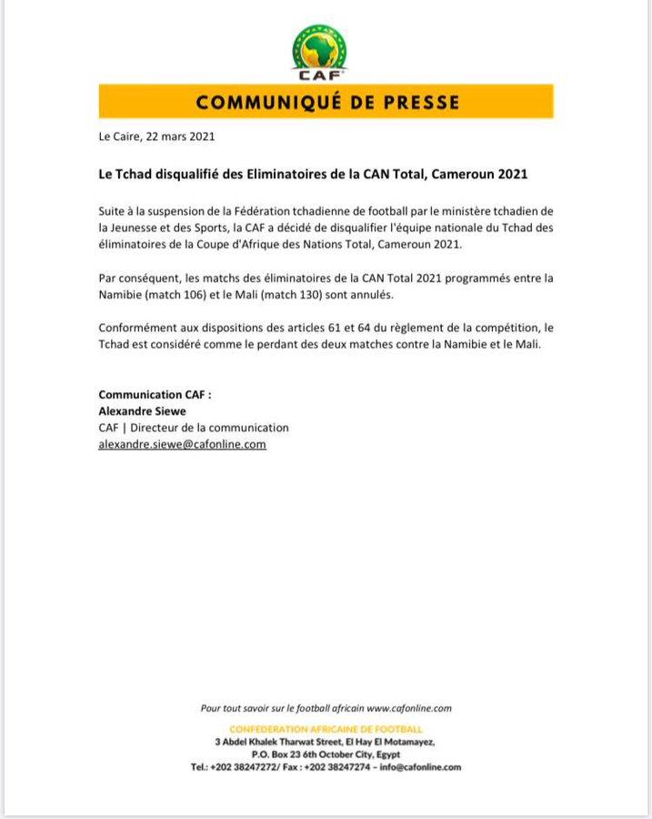 CAN 2021: la CAF disqualifie le Tchad, la Guinée en sueur...