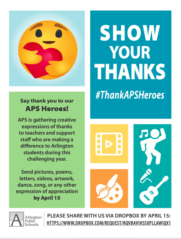 APS Show Your Thanks Campaign Information: <a target='_blank' href='http://search.twitter.com/search?q=ThankAPSHeroes'><a target='_blank' href='https://twitter.com/hashtag/ThankAPSHeroes?src=hash'>#ThankAPSHeroes</a></a> <a target='_blank' href='http://twitter.com/Principal_YHS'>@Principal_YHS</a> <a target='_blank' href='http://twitter.com/YorktownHS'>@YorktownHS</a> <a target='_blank' href='http://twitter.com/YorktownSentry'>@YorktownSentry</a> <a target='_blank' href='http://twitter.com/Yorktown_Sports'>@Yorktown_Sports</a> <a target='_blank' href='https://t.co/wuRppotoiz'>https://t.co/wuRppotoiz</a>