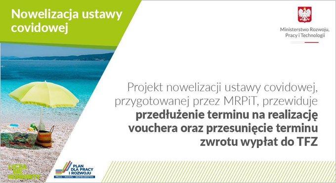Grafika informująca o zmianach turystycznych w ustawie covidowej.