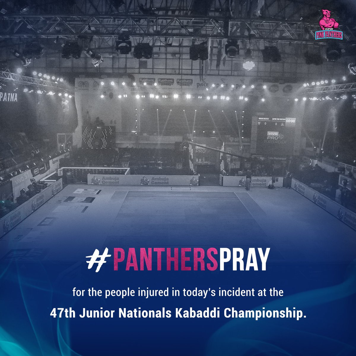We pray for the speedy recovery of the ones injured in today's accident 🙏  #PanthersPray #JaipurPinkPanthers #JaiHanuman