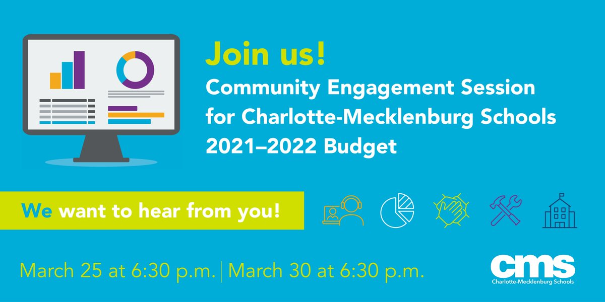 We need the community's feedback on the @CharMeckSchools budget for the upcoming school year.   Please participate in one of the virtual community engagement forums, March 25 or March 30, at 6:30. https://t.co/fZWl1y5ZTn