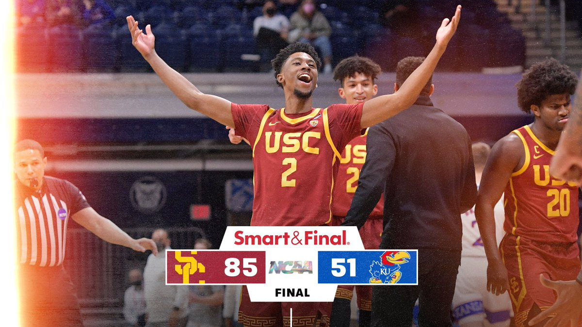 FINAL: USC 85, Kansas 51! The Trojans are headed to the Sweet 16!!! #MarchMadness