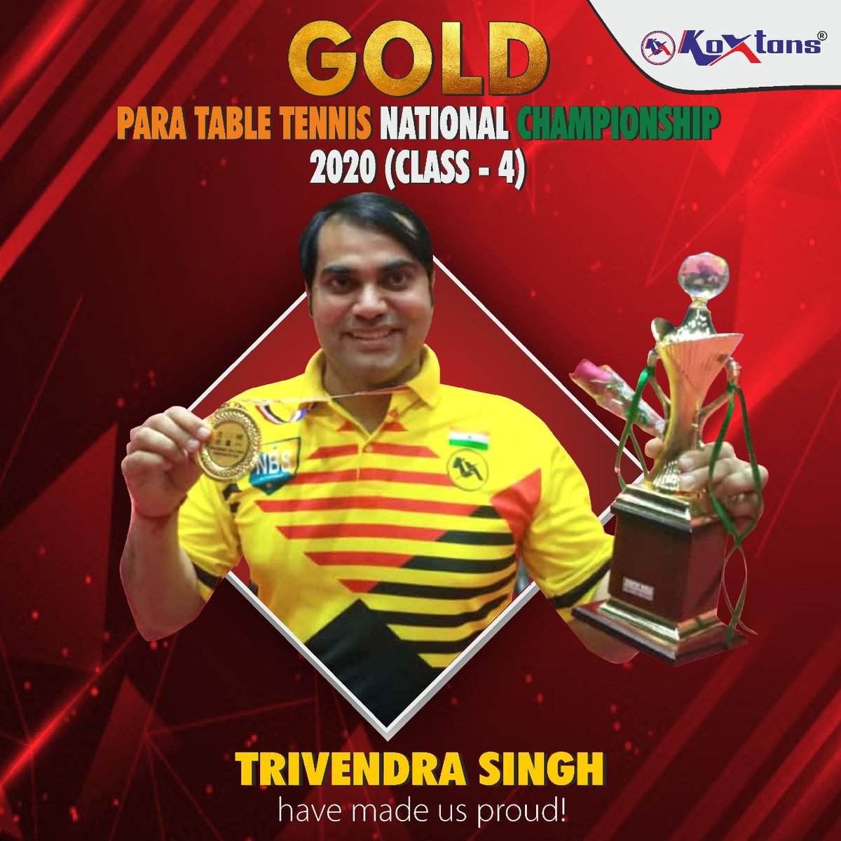 Congratulations 🏆🥇 to TRIVENDRA SINGH on acquiring the Gold in Para Table Tennis National Championship 2020 (Class-4). https://t.co/QSkl5B09T2