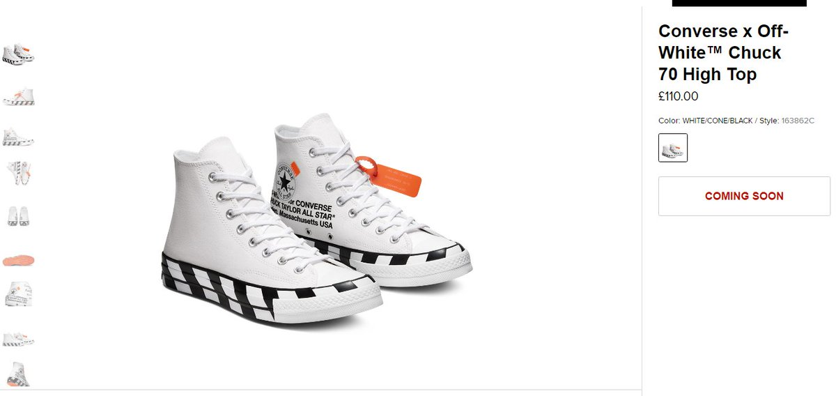Ad: The Converse x Off White Chuck 70 High will be restocking soon via Converse EU, most likely next week: