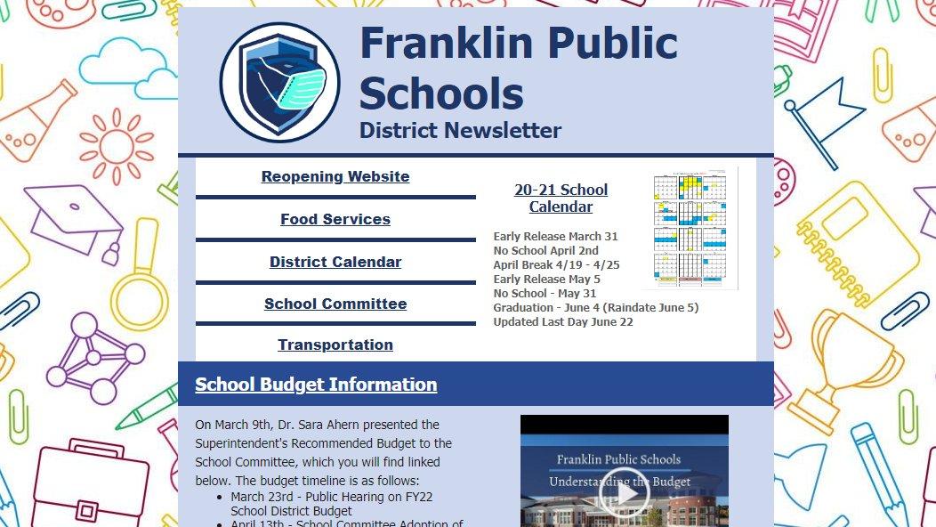 Franklin Public Schools, MA: District News Letter - March 2021