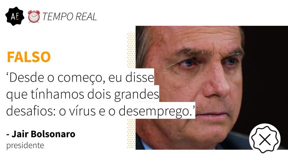 ❌ Pelo menos desde março do ano passado, Bolsonaro tem dado declarações frisando igual atenção à pandemia e aos efeitos da crise na economia ― foram mais de 40 vezes, segundo o levantamento mantido pelo Aos Fatos.   Veja as checagens em tempo real: https://t.co/fuGRtcoRom https://t.co/M2wN57qLzj