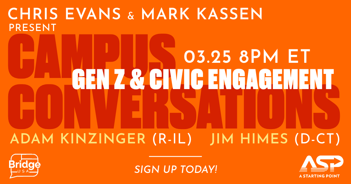STUDENTS: ASP co-founders @ChrisEvans and @MarkKassen are taking your questions to Congressmen @RepKinzinger & @jahimes for a special conversation about your political future. Register today & drop your questions here 👉  https://t.co/2QSWuel2ia https://t.co/APq7dznbRS