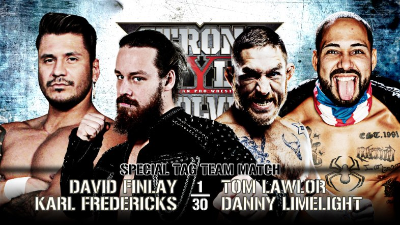 New Japan Pro Wrestling Match Card. Wrestlers pictured are David Finlay and Karl Fredericks versus Filthy Tom Lawlor and Danny Limelight.