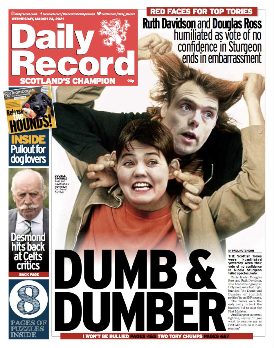 """Angus Robertson on Twitter: """"""""Dumb and Dumber: Red faces for top Tories.  Ruth Davidson and Douglas Ross humiliated as vote of confidence in Sturgeon  ends in embarrassment"""". Front page of today's @Daily_Record…"""