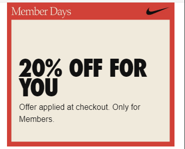 Ad: Nike EU Member Sale - Save 20% on selected products, no code needed