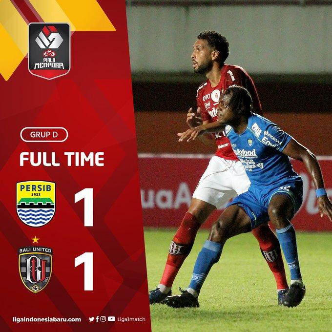 Skor akhir Persib Bandung 1-1 Bali United