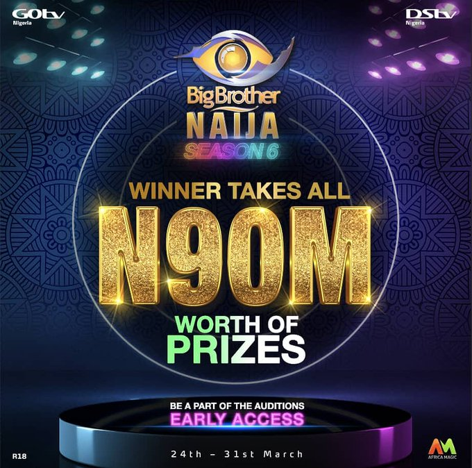 BBNaija Season 6: Organisers announce 2021 season six audition, N90m grand prize