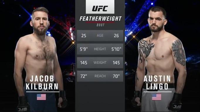 Preliminares Primer encuentro de la noche Kilburn vs Lingo GG Lingo por DU (27-30, 26-30, 26-30) #UFC  #UFCFightnight  #UFCFightIsland7 https://t.co/AvFpKfIdA5