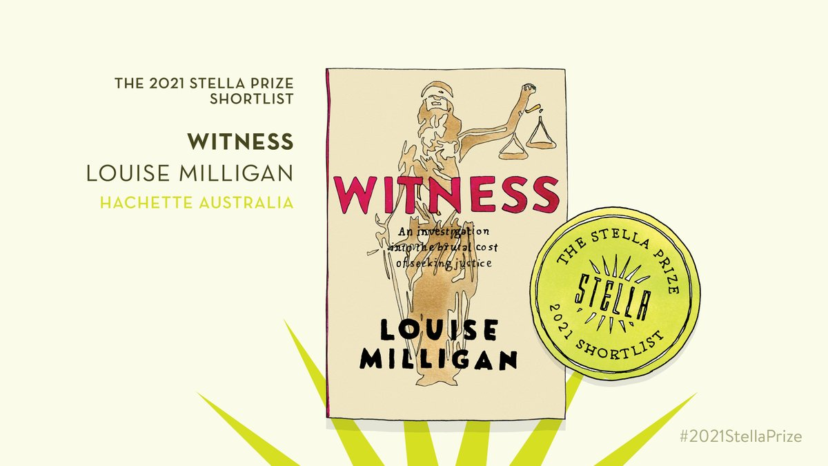 Congratulations to @Milliganreports for making the #2021StellaPrize @TheStellaPrize shortlist with her book #Witness – a searing examination of the power imbalance in our legal system. Credit to @thejulietreport for this incredible image. Read more: bit.ly/3o5uukw