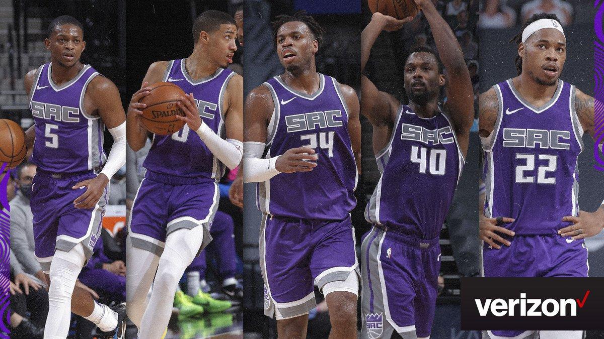 "Sacramento Kings on Twitter: ""Starting lineups sponsored by @Verizon:  @swipathefox @TyHaliburton22 @buddyhield @hbarnes @Rich_Holmes22… """