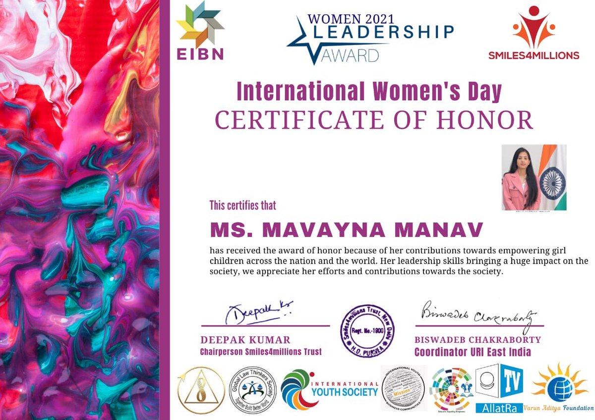 WOMEN 2021 LEADERSHIP AWARD  Thank you 🙏 @env_deepak @smiles4millions   #WomensHistoryMonth #internationalwomensday2021 #internationalwomensday  #WomensDay #IWD2021 #UnheardStories #WomenWhoInspire #StoriesOfInspiration #womenempoweringwomen #womensday2021 #womeninleadership
