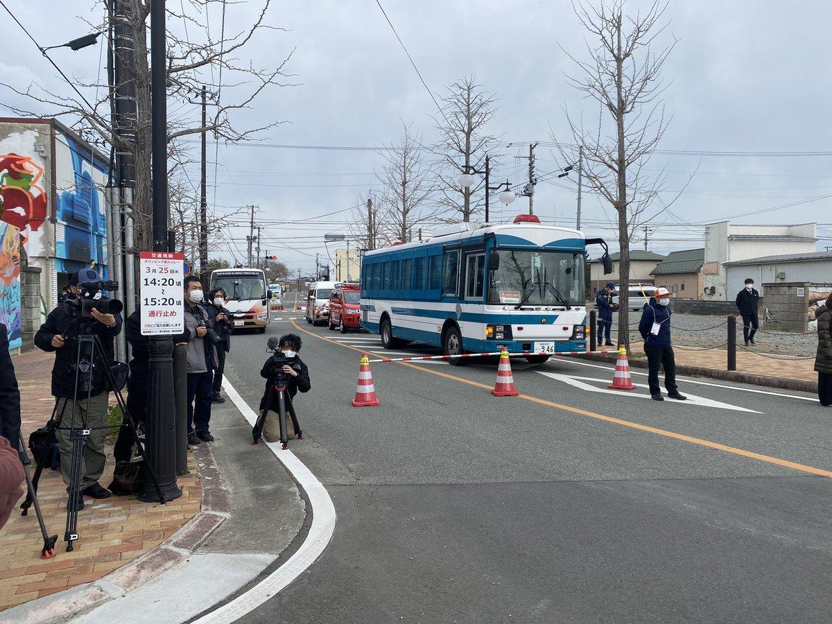 聖火リレーのコース福島県双葉町、駅前をぐるぐる回るだけだった!