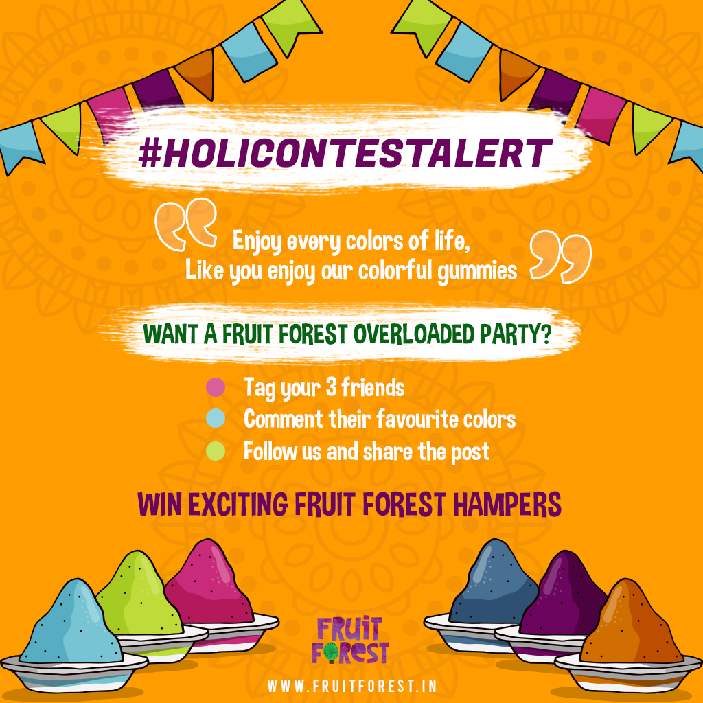 Ready for the ultimate Fruit Forest Holi Contest? Win exciting Gift Hampers in 3 simple steps: 🥰  Facebook:https://t.co/tEbUysnsfE  Five lucky winners will be announced!  #contestalert #holi #holi2021 #holicontest #contest #letsplayholi #indiacontest #tagfriends #fruitforest https://t.co/chv6Klh1bK