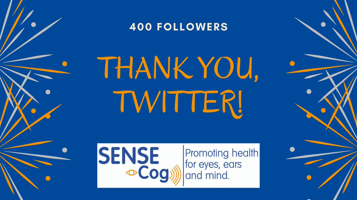 Congratulation, @sense_cog! 400 followers on Twitter but even more out there! Our @EU_H2020 project studies the combined impact of #hearing, #VisionImpairment and  #dementia & translates the knowledge into clinical applications for EU citizens. More info 👉https://t.co/DkSEvJU1E4