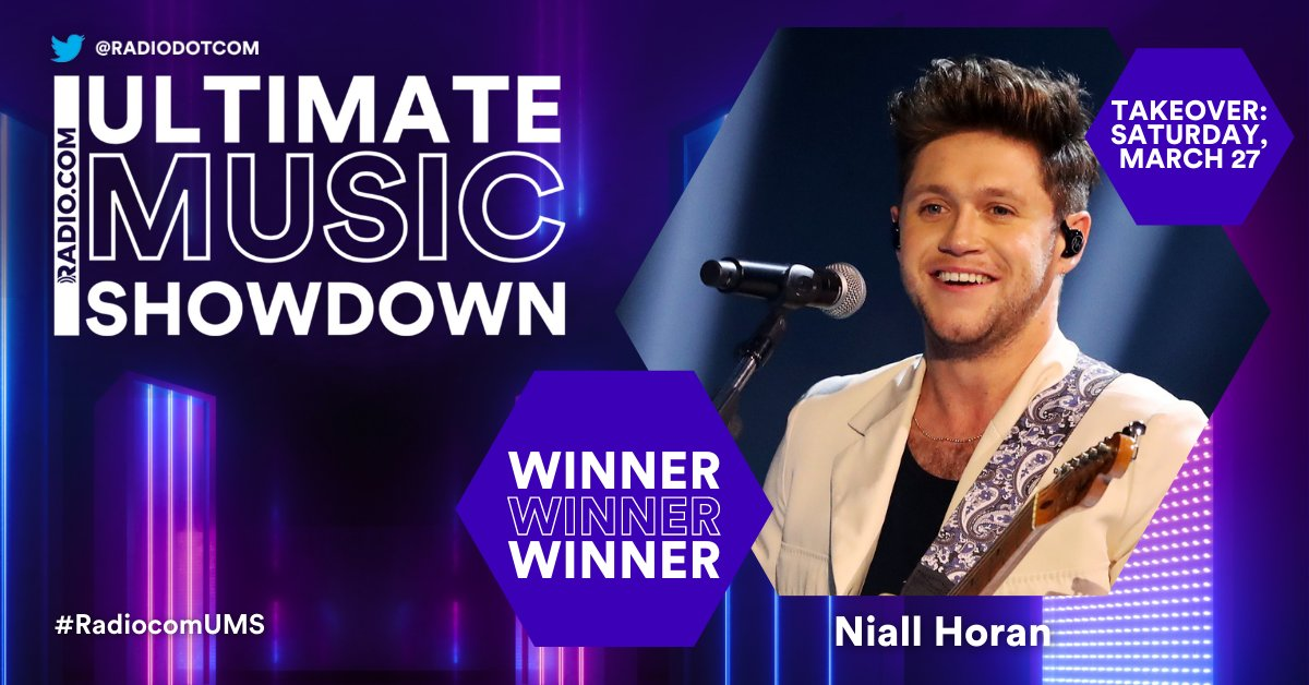 And the winner is… 👑 @NiallOfficial 👑!   Thank you so much for voting in @RADIODOTCOM's Ultimate Music Showdown! Check out our Twitter Saturday, March 27th for an all-day celebration as we dedicate our Twitter to Niall Horan! #RadiocomUMS  READ MORE 👉