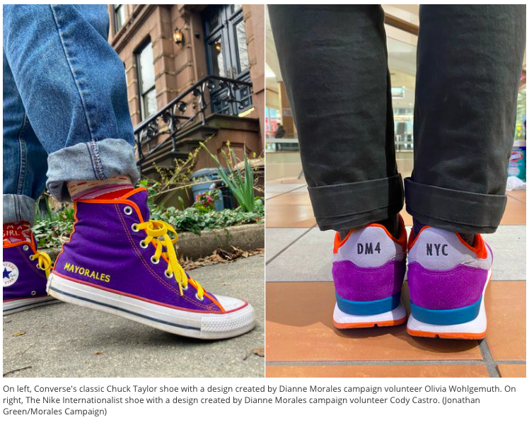 Now on the NYC mayoral campaign trail: custom @Dianne4NYC sneakers https://t.co/agGebU4AQH https://t.co/5vPZ9Q9WF6