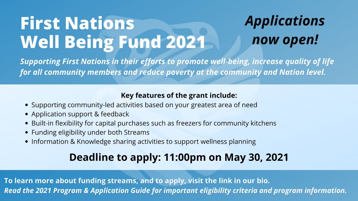 Interested in applying for the 2021 First Nations Well Being Fund? Read more information on eligibility and how to apply on our website: https://t.co/K4Gsy06nzv  #ApplyNow #ReachOut #FundingAvailable #BCFirstNations