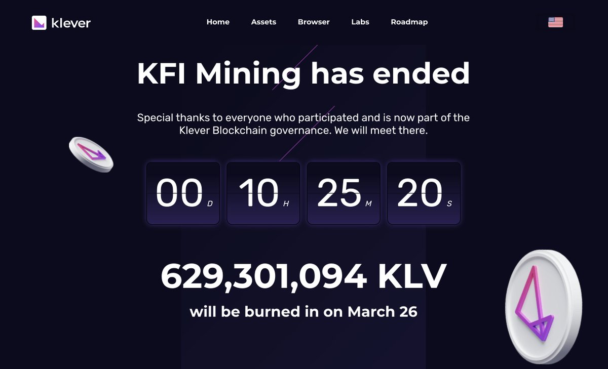 """Klever on Twitter: """"The largest mine-burn in the history of #crypto is less  than 12 hours away, as 629 million $KLV (~$70M USD) will burn and be  removed from $KLV circulating supply"""