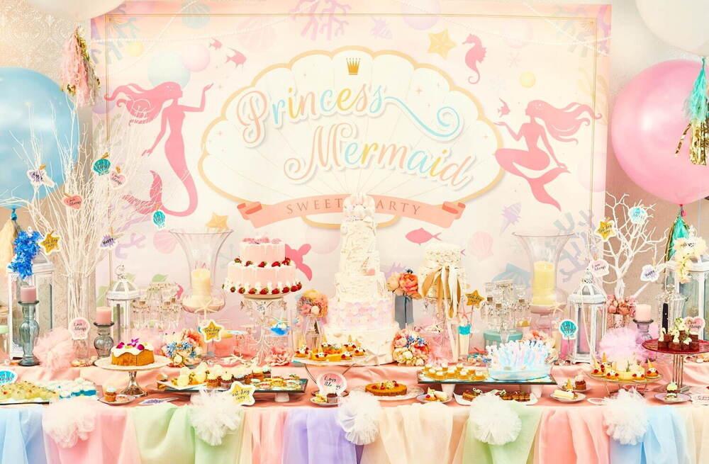 千葉・浦安で人魚姫がテーマのデザートブッフェ『プリンセス・マーメイドのスイーツパーティー』が誕生!マカロンやカップケーキが可愛すぎる!