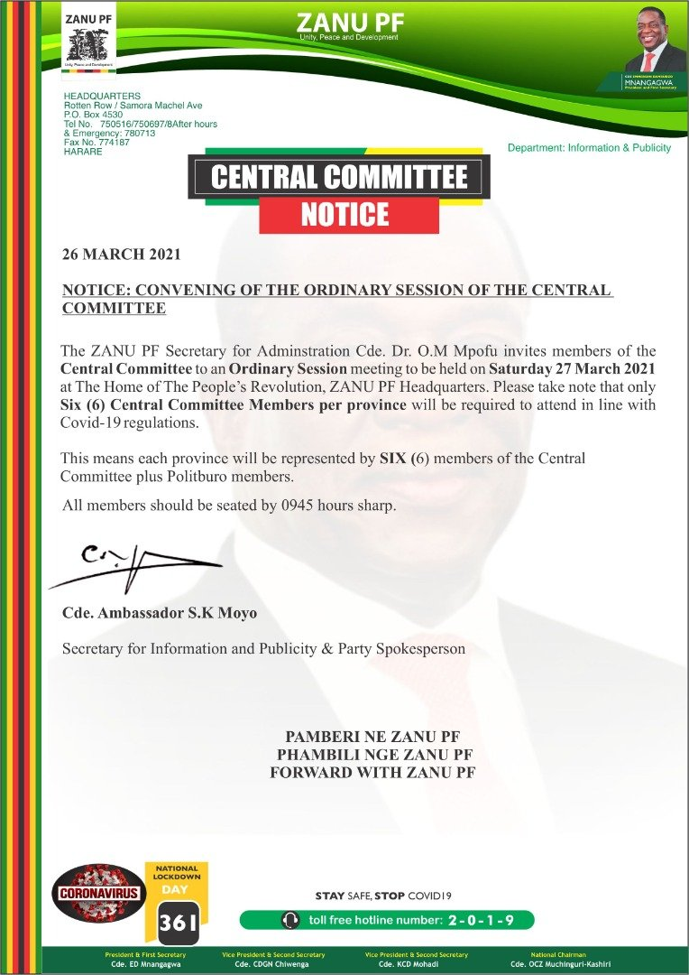 FULL TEXT: ZANU PF Central Committee Meeting Notice ⋆