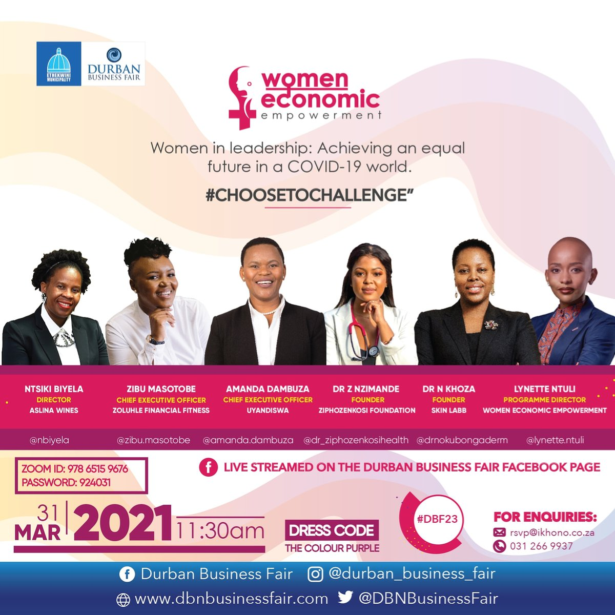📅 5 DAYS TO GO till the first & most anticipated Women Event of the calendar takes place, & YOU are invited🎟️!  JOIN US via the Zoom link or by watching the Facebook stream!   📆 31 March 2021 ⏰ 11:30am 📌 Zoom & Facebook 🎟️ FREE  #CHOOSETOCHALLENGE  #DBF23 #WomenInConversation