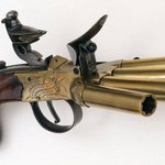 The age of sail produced many strange weapons, but few odder than the duck's foot pistol, designed to clear a section of deck when boarding.     #Ageofsail #RoyalNavy #smallarms
