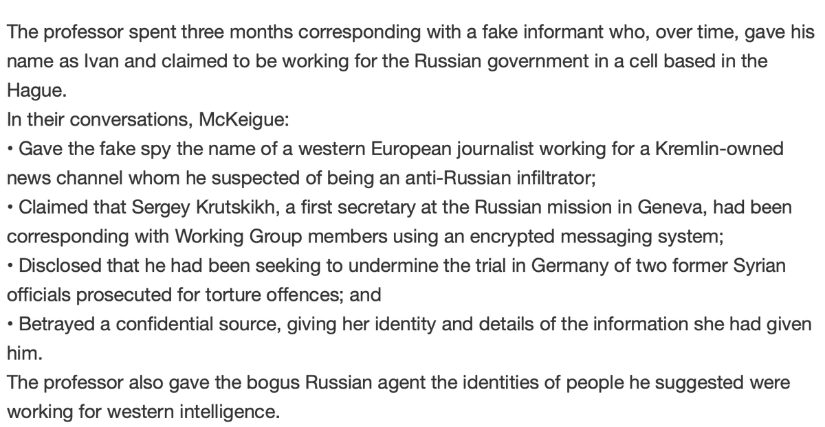 "Eliot Higgins on Twitter: ""Here's just some of the things Paul McKeigue got  up. Fortunately for the people he was reporting on it he wasn't actually  speaking to Russian intelligence, but people"