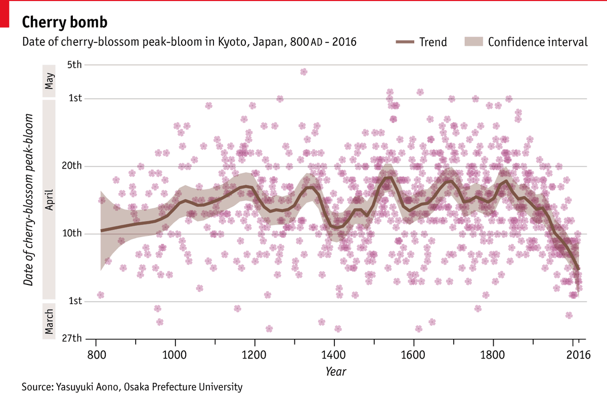 One of my favourite charts, aesthetically if not for what it depicts: Japan's cherry blossoms are emerging increasingly early, and experts think climate change is to blame #SAKURA