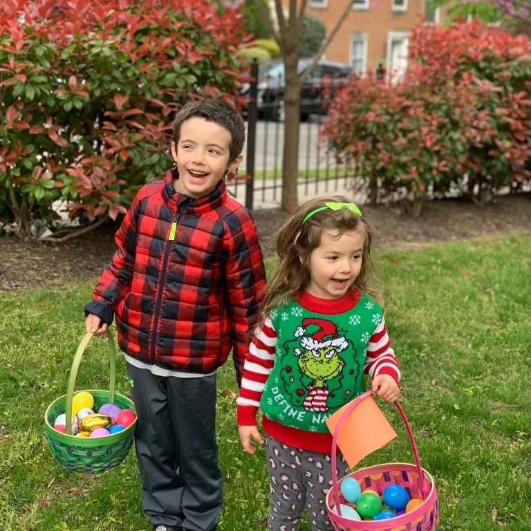 Two of my four Jewish grandchildren celebrating the Resurrection by locating plastic eggs with chocolate inside! Happy Easter!