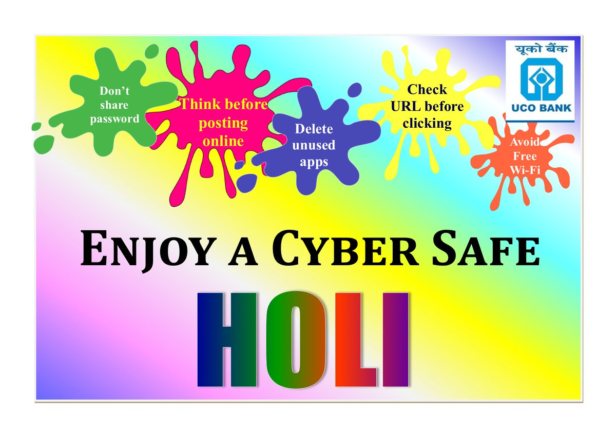 UCO Bank wishes a colourful Holi with a Splash of Cyber Security. KeepEyesOpen https t.co cVI224t1yP