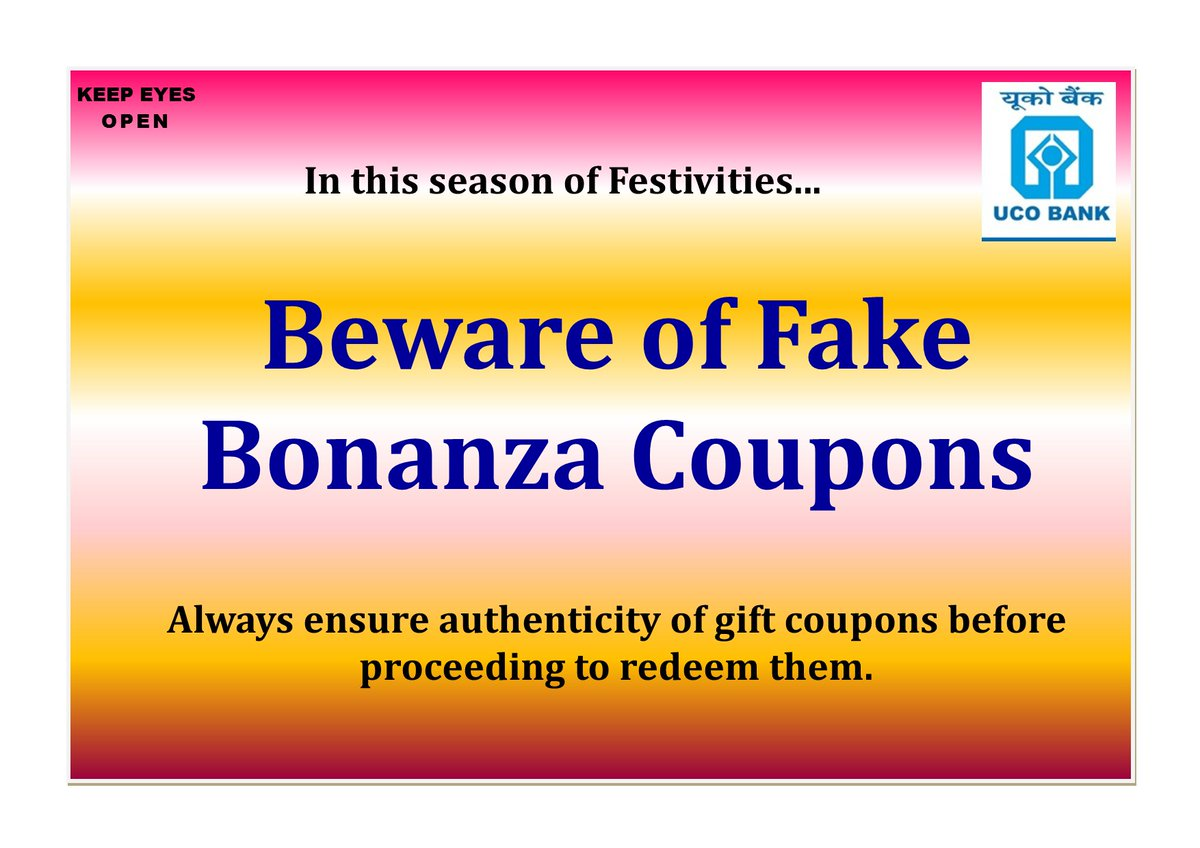 Do not fall prey to fake lotteries amp gift coupons offering lucrative prizes. Be Cyber Safe. KeepEyesOpen https t