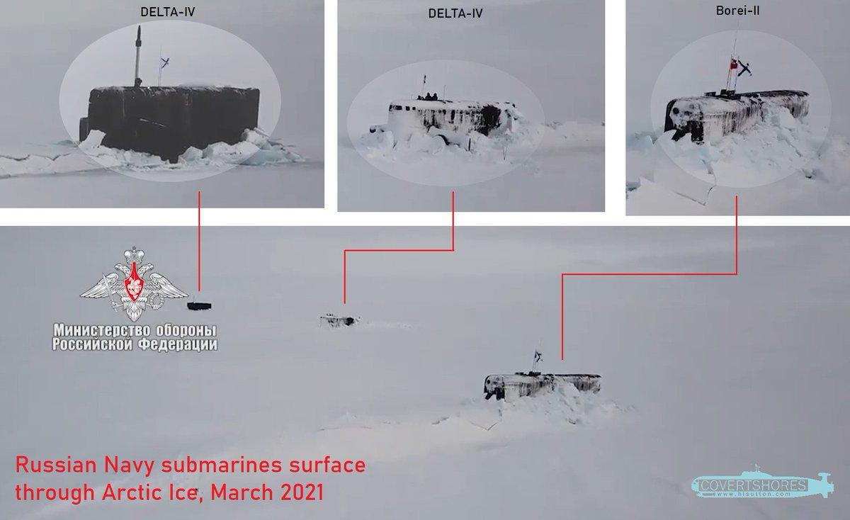 Всплытие из-подо льда трех атомных подводных лодок в ограниченном районе радиусом 300 метров