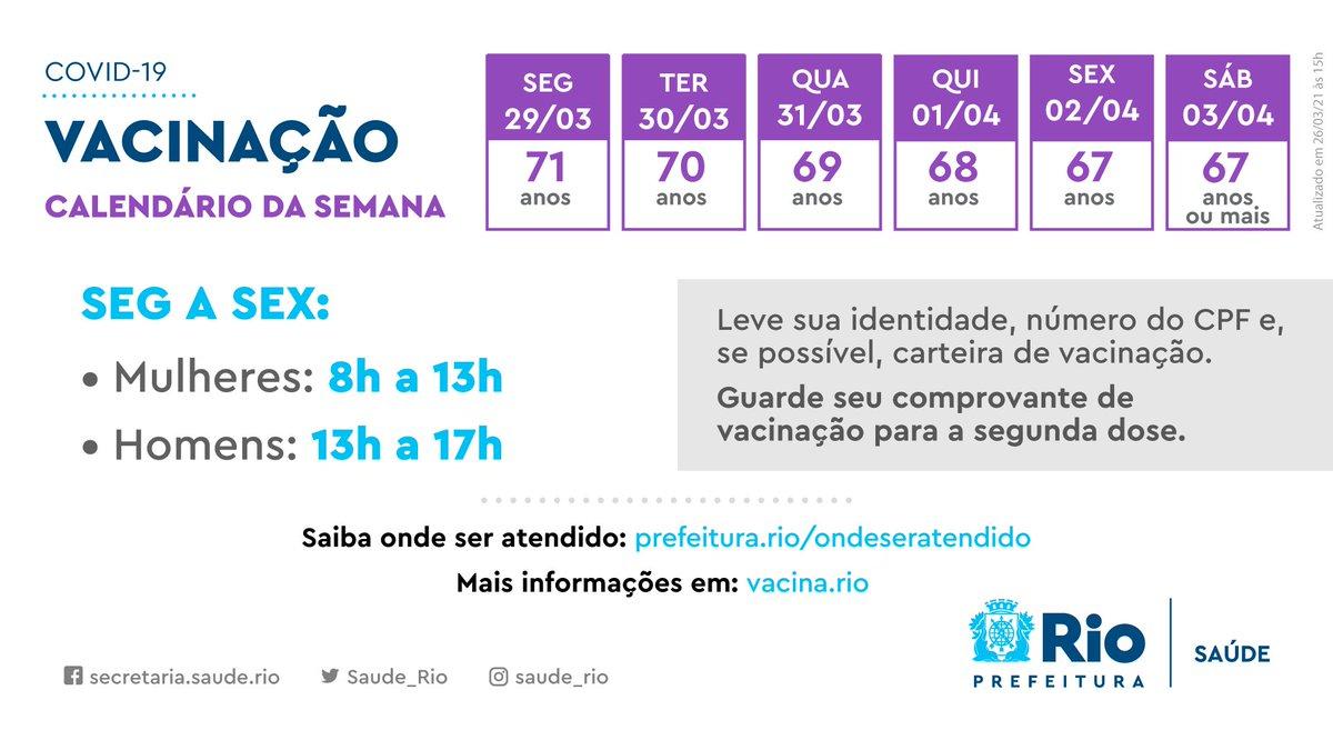 Atenção ao novo calendário de vacinação. A partir de segunda-feira, mulheres podem se vacinar das 8h às 13h e homens das 13h às 17h. Vamos conseguir acelerar a vacinação no município do Rio. Fique atento, compartilhe essa mensagem e não espalhe fake news. https://t.co/2h5eQtf6tU